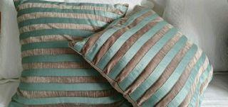 Grey and turquoise, aqua blue cushions