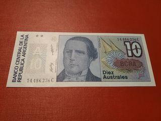 Billete Argentina de 10 australes SC