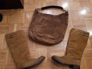Botas de ante Zara n 39 y bolso de ante Sfera.