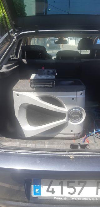 subwoofer y amplificador con cableado para coche