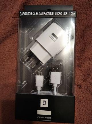 CARGADOR Y CABLE MICRO USB