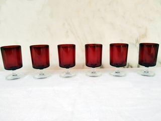 Juego de 6 copas retro en rojo