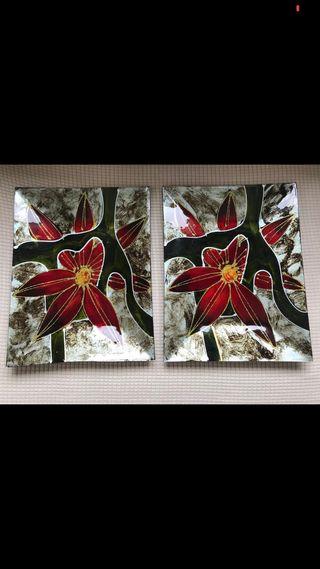 Platos de cristal decorativos 2 unidades