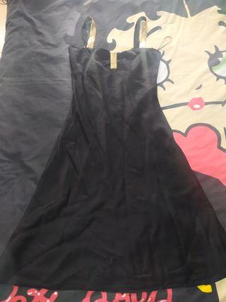 vestido Roberto Verino 38-40 negro raso oro