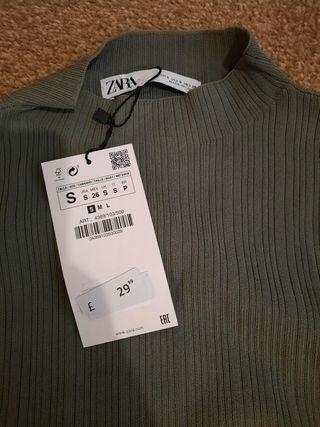 zara fitted khaki dress size S
