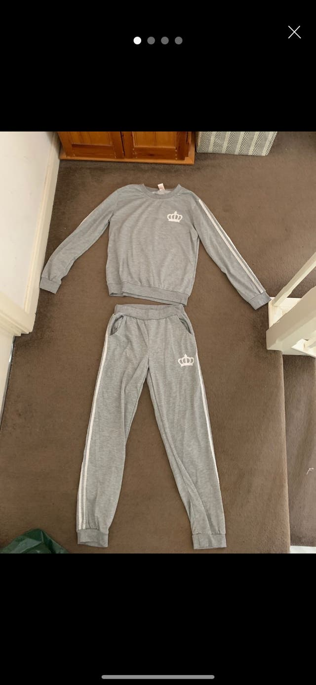 Grey tracksuit with white stripes