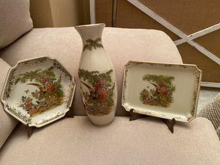 Juego de 3 piezas porcelana Satsuma japonesa