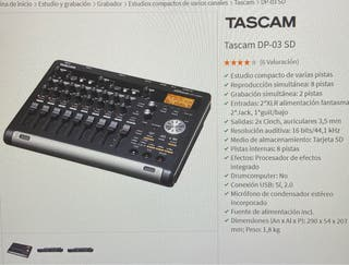 Grabador Multipistas TASCAM+FOOTSWITCH RC 3F