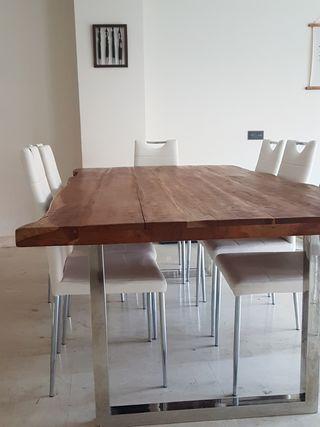 Mesa madera acacia maciza y metal