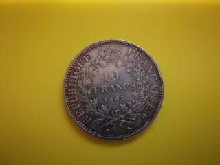 moneda 10 francs plata
