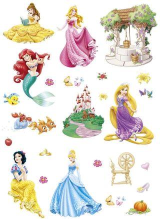 Pegatina Decorativa De Pared, Princesas Disney