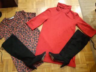 Dos vestidos Zara talla S y botas altas negras
