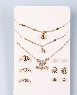 12 Piezas Set Joya Con Diamante De Imitación