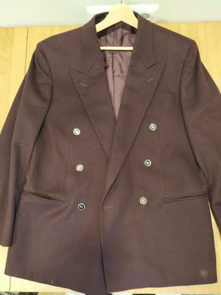 americana vintage púrpura lana hombre T50