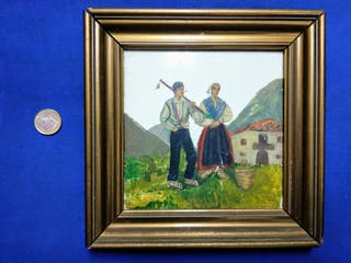 Azulejo enmarcado con pintura motivos vascos