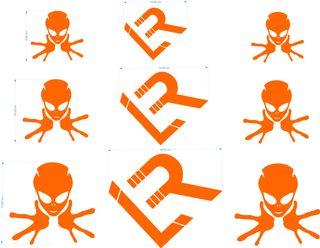 Pegatina de vinilo 6 Aliens y 3 logo Linea Recta