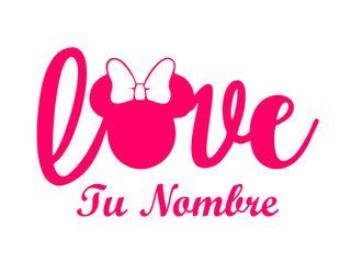Pegatina de vinilo Minnie love + nombre