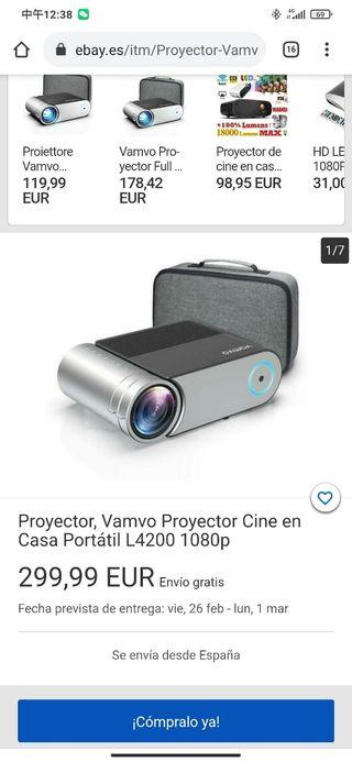Proyector, Vamvo Proyector Cine en Casa Portátil