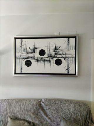 Cuadro abstracto blanco y negro