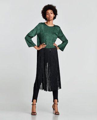 Kimono flecos verde Zara
