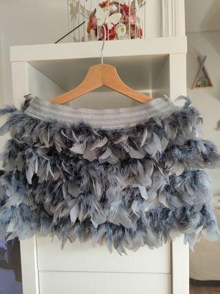 falda de plumas talla M