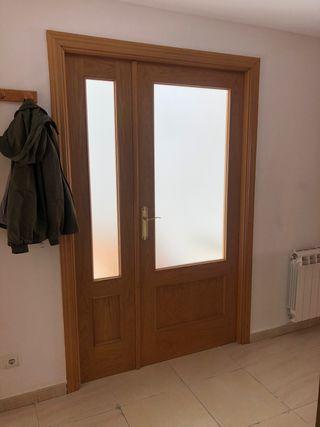 Puerta doble de salon con cristal y marcos