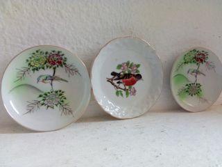 Colección 3 platitos de cerámica japonesa