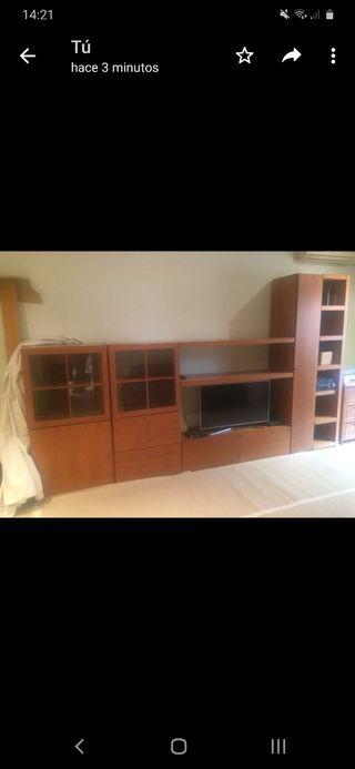 Conjunto mueble comedor + sofá piel marron