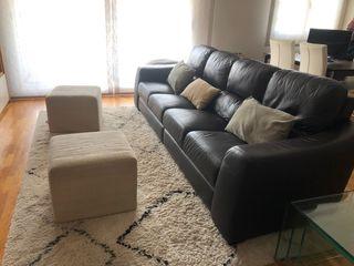 Conjunto de sofá de piel y 2 pufs de Masterpiel