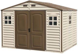 Caseta de PVC Woodside 10X8, Beige/Marron, 8,02 m²