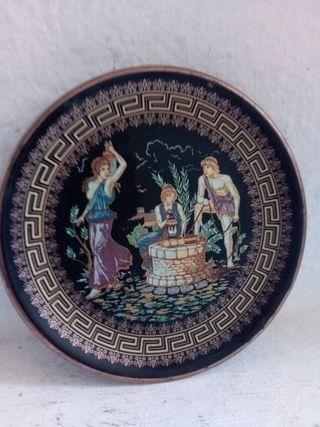 Plato griego de cerámica Adis decorado en oro 24k