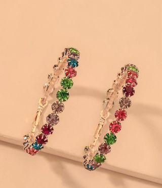 Pendientes De Aro Con Diamante De Imitación