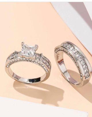 2 Piezas Anillo Con Diamante De Imitación
