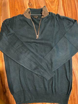 Jersey verde con cremallera Massimo Dutti