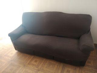 Sofá marrón de piel 3 plazas.