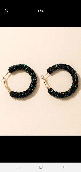 Brand new black hoop earrings