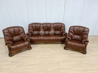 Sofas de Piel Rusticos Color Marrón Anaranjado