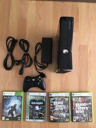 Xbox360+cables+4 juegos+mando inalámbrico+disco