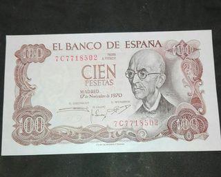 billete antiguo 100 pesetas 1970