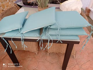 Lote 6 cojines para sillas de jardín. Desemfundabl