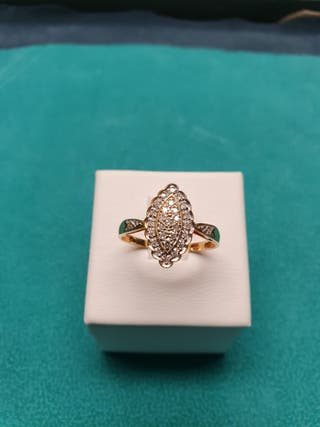 Anillo oro de ley 18kl diamantes
