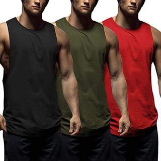 COOFANDY Camiseta de tirantes para hombre 3 u