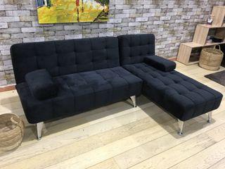 Sofá-cama chaise-longue terciopelo negro