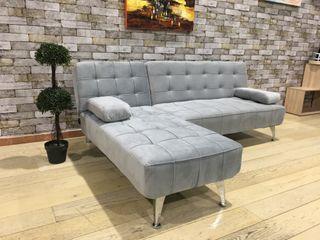 Sofá-cama chaise-longue terciopelo gris