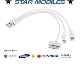 -- CABLE 3 EN 1 USB CARGA IPHONE MICRO USB