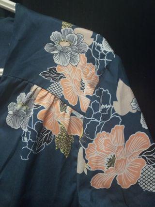 vestido tipo kimono azul