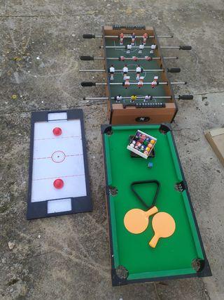 Futbolín, ping pong, Air hockey y billar
