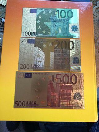 3 billetes de coleccion de 100,200y 500€.nuevos