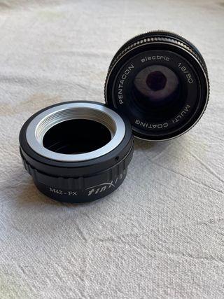 Adaptador fujifilm y objetivo analógico 50mm