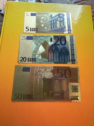 3 billetes de coleccion de 5€,20€ y 50€